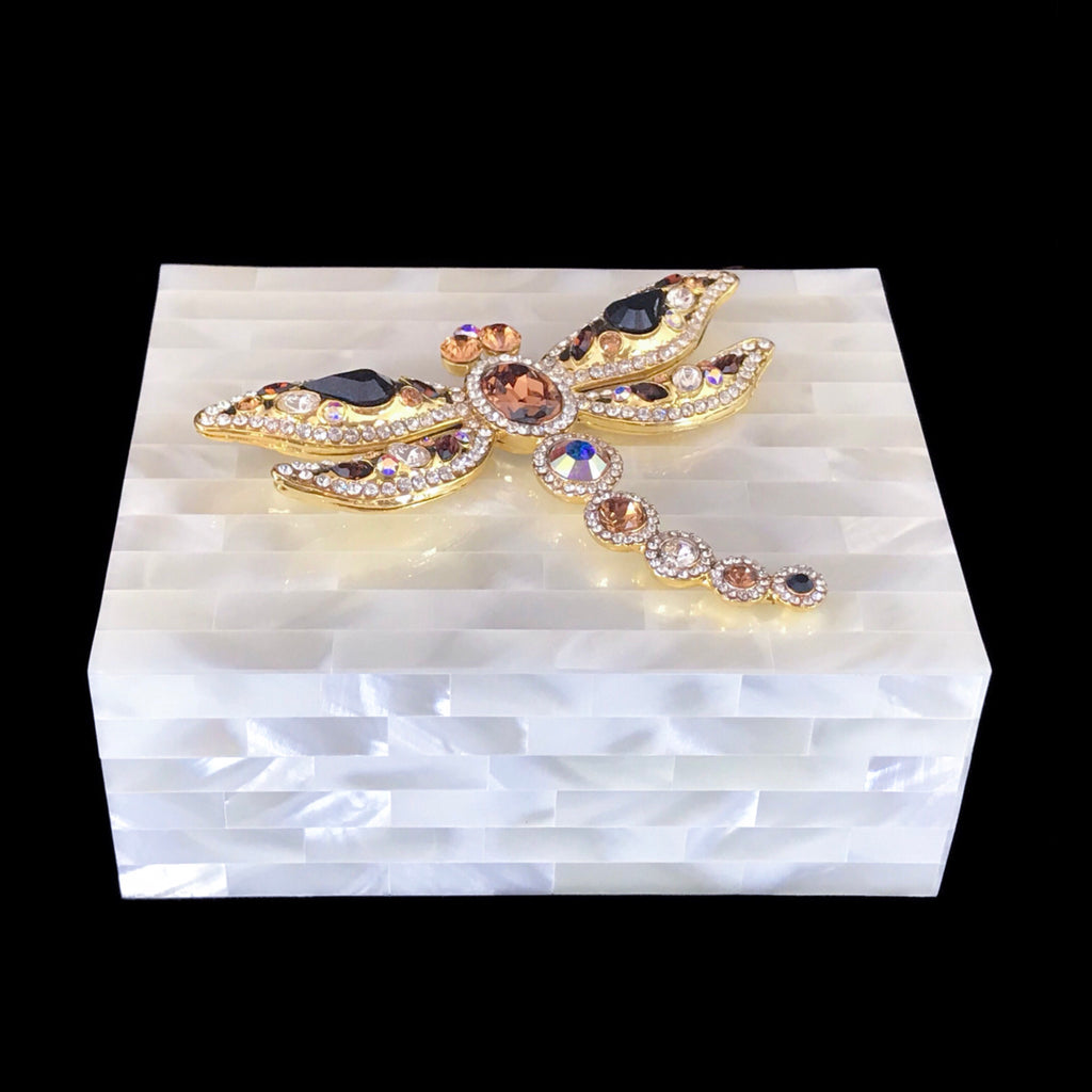 Mother of Pearl Keepsake Box Featuring Topaz Swarovski © Crystallized Dragonfly
