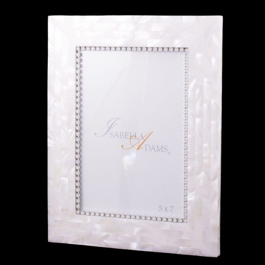 5 x 7 Mother of Pearl Picture Frame Featuring White Opal Swarovski © Crystals