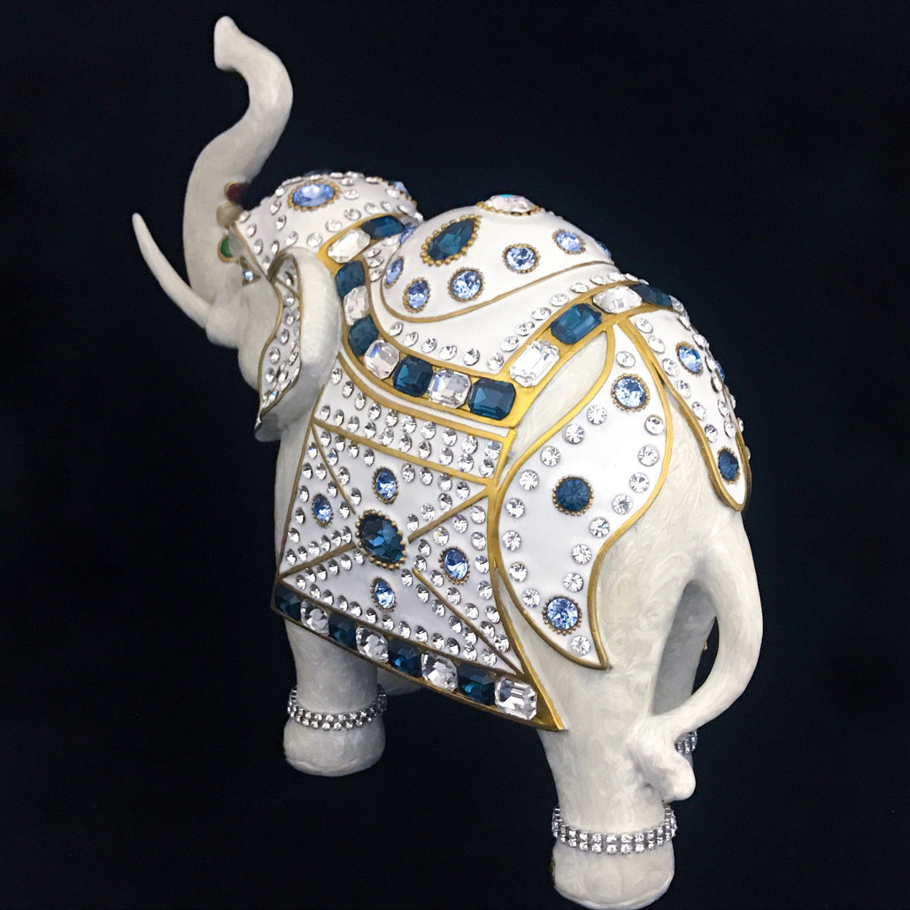 Parade Elephant Statuette Featuring Blue Mix Swarovski © Crystals