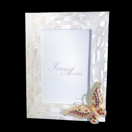 4 x 6 Mother of Pearl Siam Mix Butterfly Picture Frame Featuring Swarovski © Crystals
