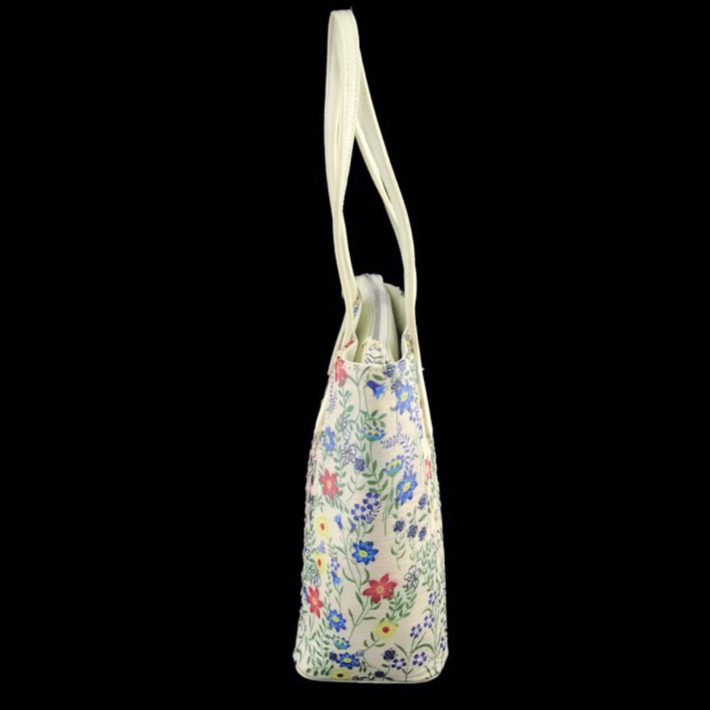 Floral Ostrich Leather Tote Bag | Med