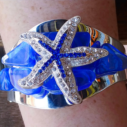 Sapphire Sea Glass Cuff Bracelet Featuring a Clear & Sapphire  Swarovski © Crystallized Starfish Adornment