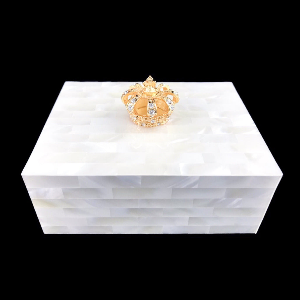 Mother of Pearl Crown Keepsake Box Featuring Swarovski © Crystals