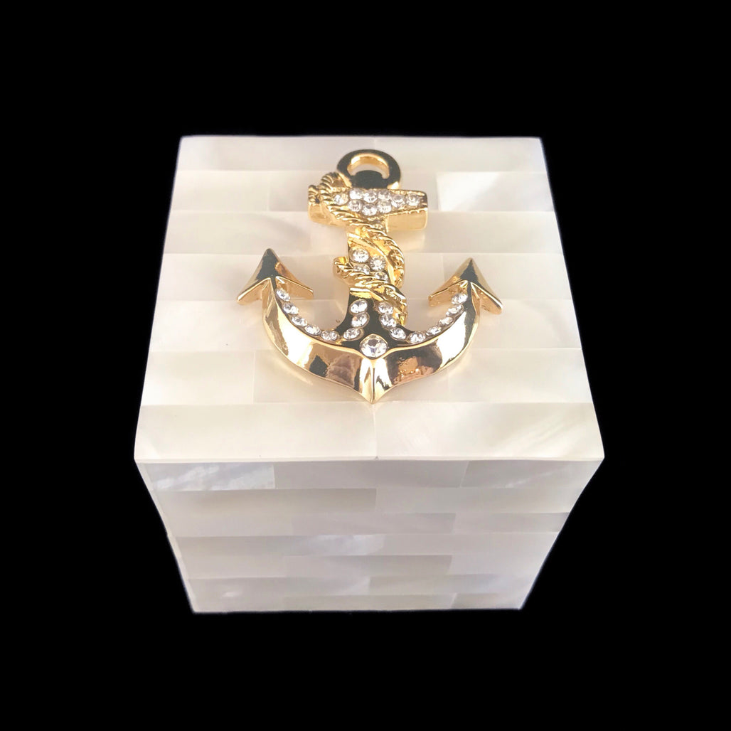 Mother of Pearl Gold Anchor Ring Box Featuring Swarovski © Crystals