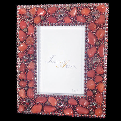 5 x 7 Picture Frame Featuring Red Magma Swarovski © Crystals and Polished Gemstones