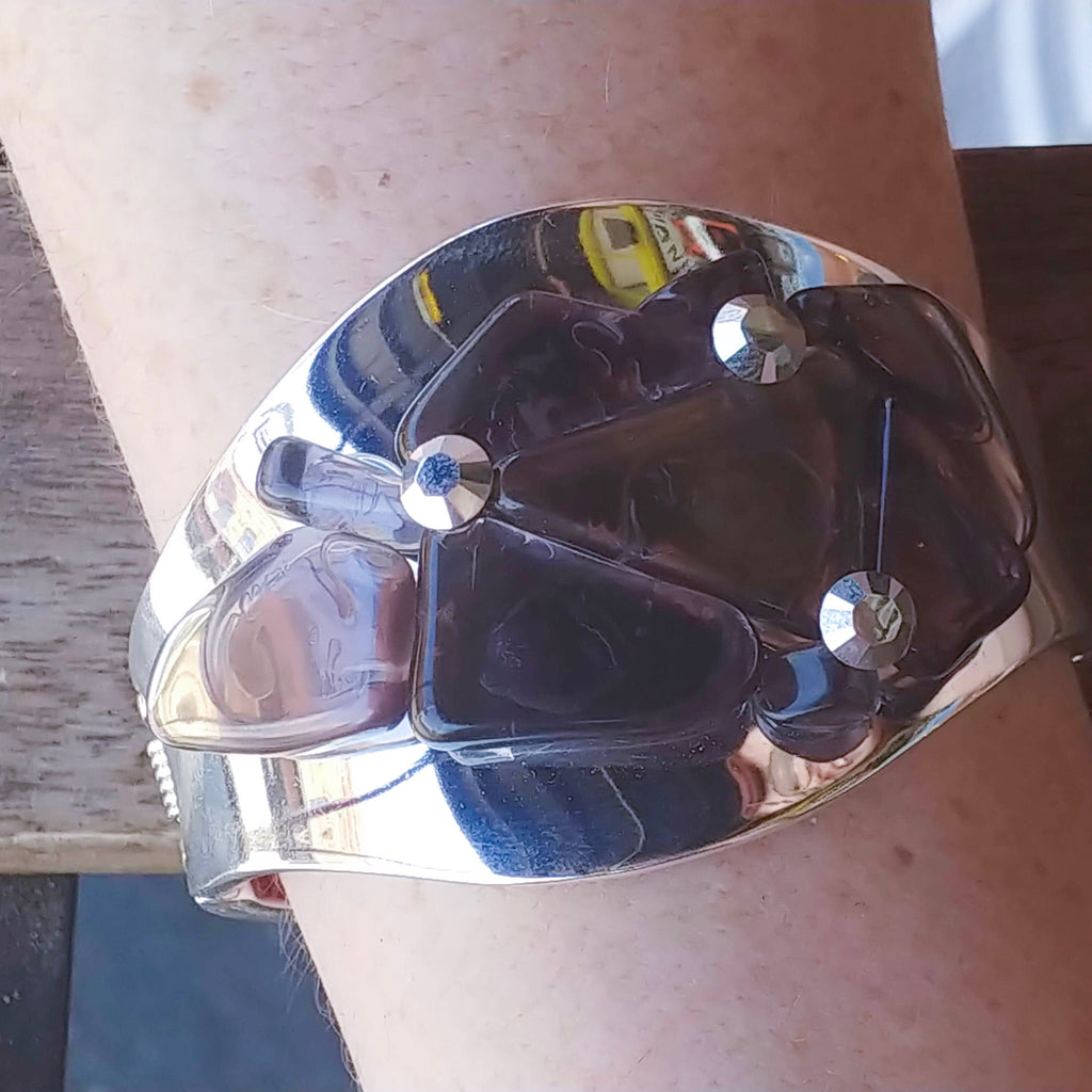 Purple Sea Glass Cuff Bracelet Featuring Swarovski © Crystals