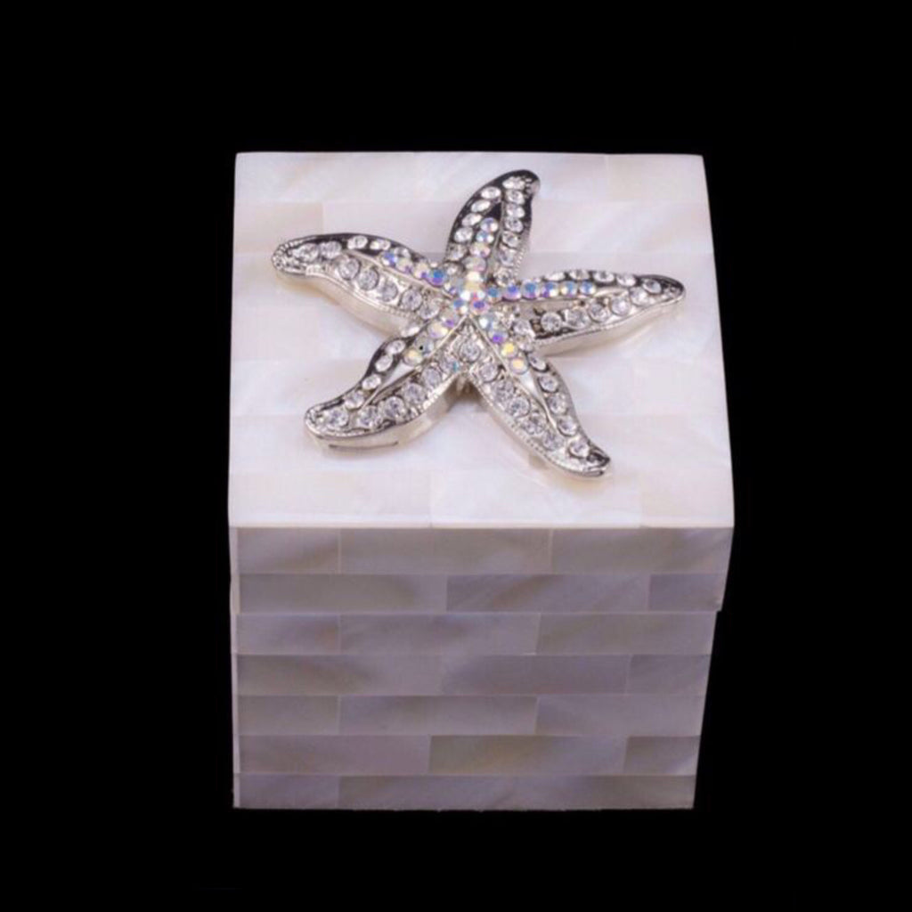 Mother of Pearl Ring Box Featuring Swarovski © Crystal Starfish
