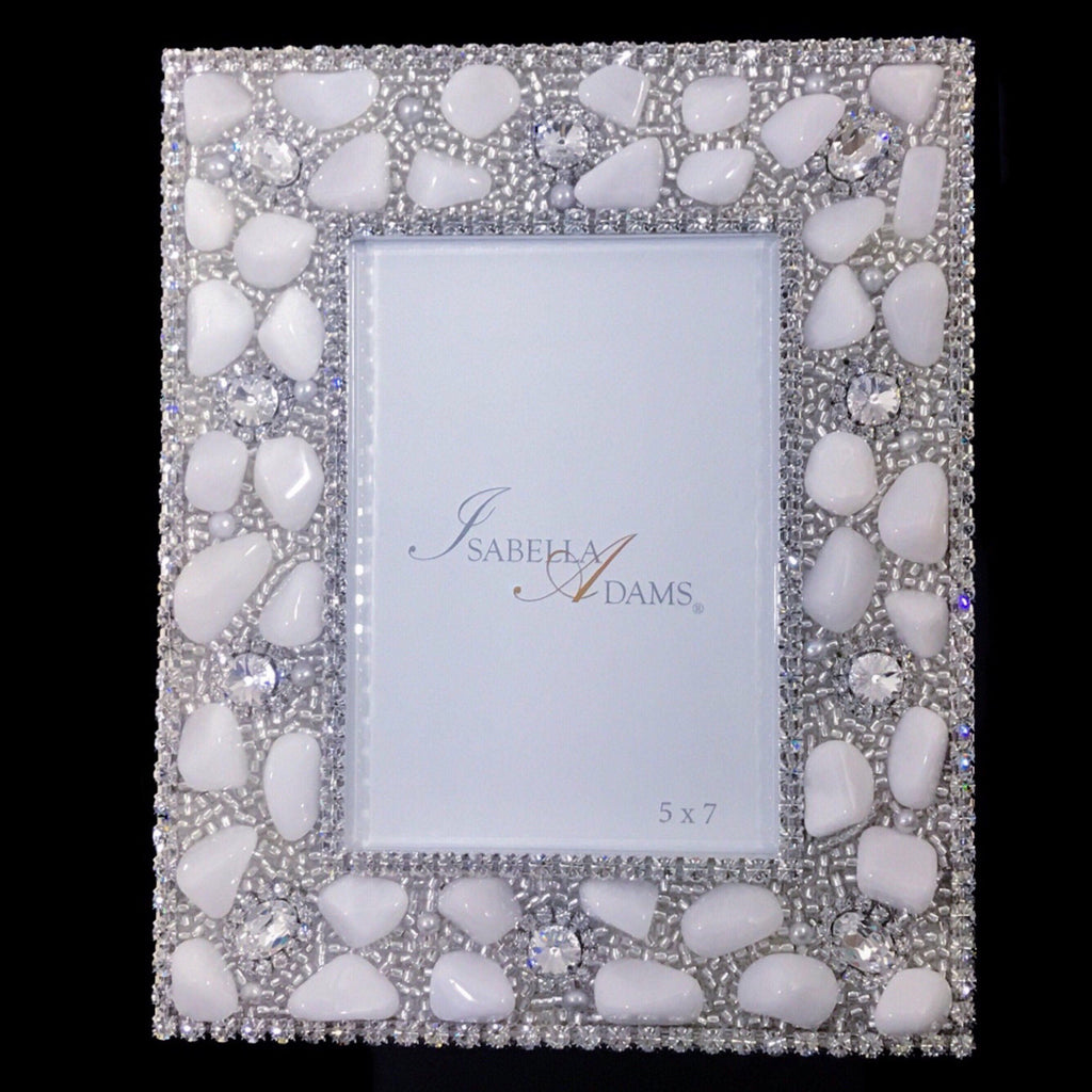 5 x 7 Picture Frame Featuring White Swarovski © Crystals and Polished Gemstones