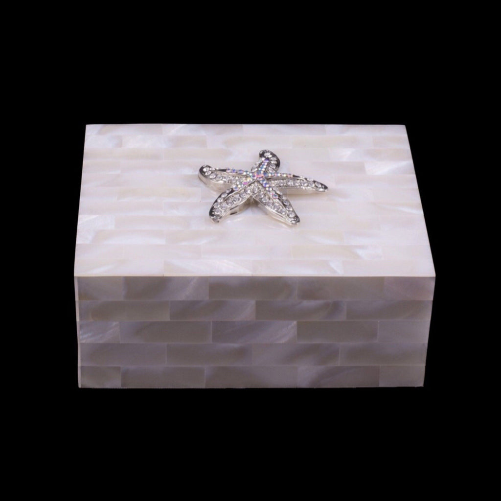 Mother of Pearl Keepsake Box Featuring Swarovski © Crystallized Small Starfish