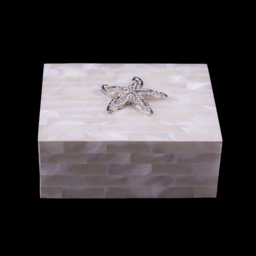 Mother of Pearl Small Starfish Keepsake Box Featuring Swarovski © Crystal