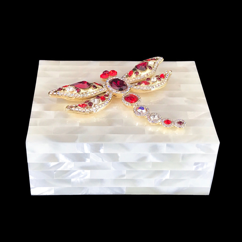 Mother of Pearl Keepsake Box Featuring Red Swarovski © Crystallized Dragonfly