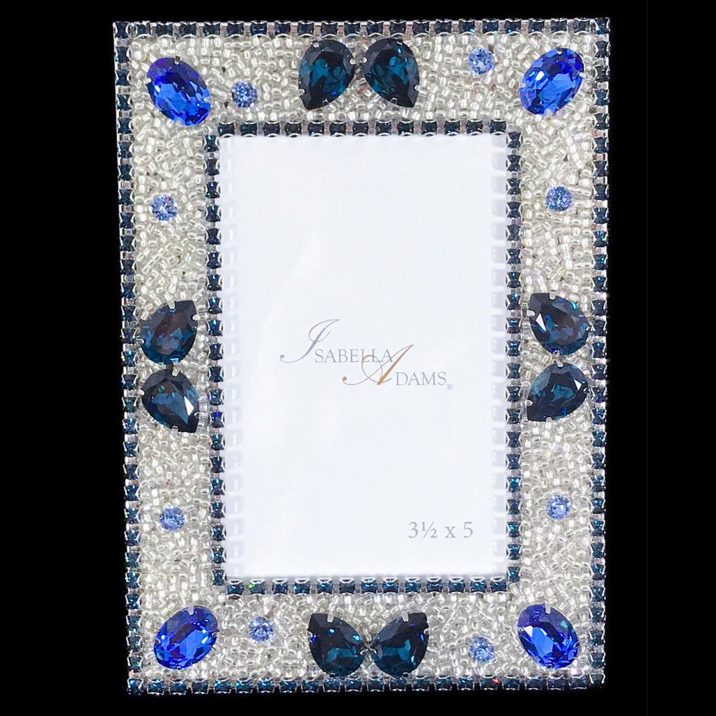 3.5 x 5 Montana Blue Crystallized Picture Frame Featuring Swarovski © Crystal