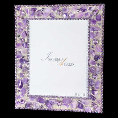 8 x 10 Picture Frame Featuring Violet Swarovski © Crystals and Polished Gemstones