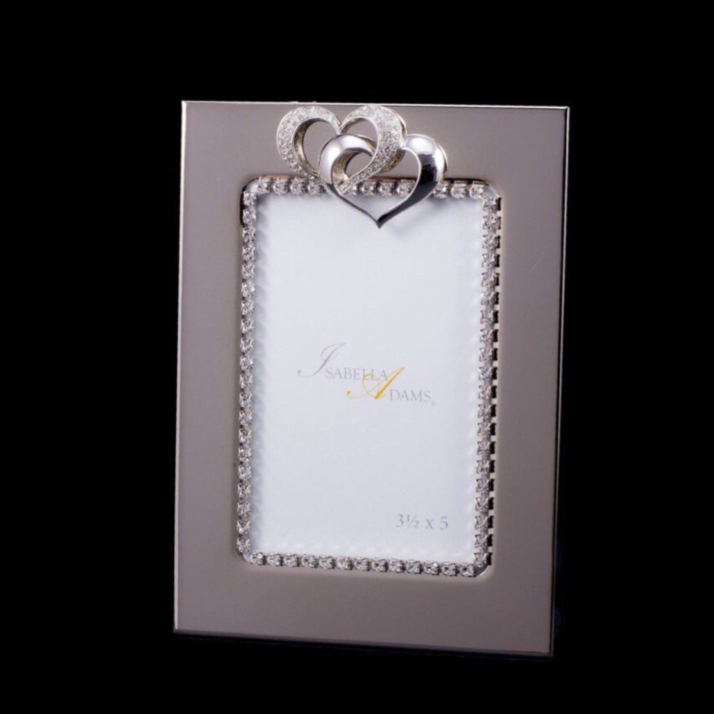 3.5 x 5 Locking Hearts Picture Frame Featuring Swarovski © Crystals