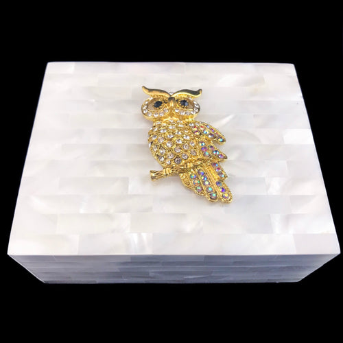 Mother of Pearl Gold Owl Keepsake Box Featuring Swarovski © Crystals