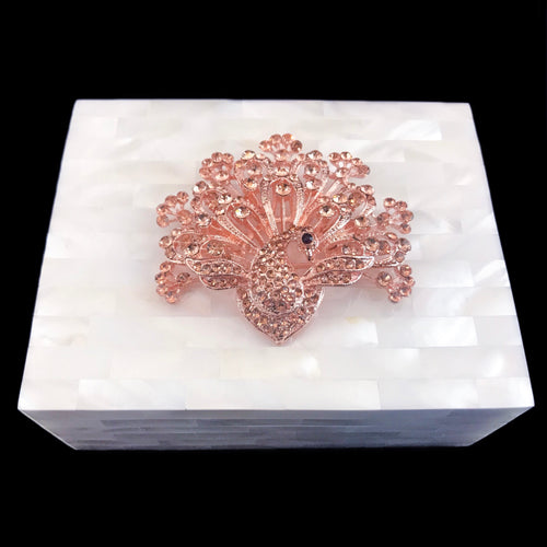 Mother of Pearl Bronze Peacock Keepsake Box Featuring Swarovski © Crystals