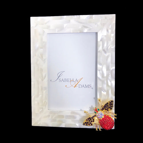 4 x 6 Mother of Pearl Siam Mix Bee Picture Frame Featuring Swarovski © Crystals