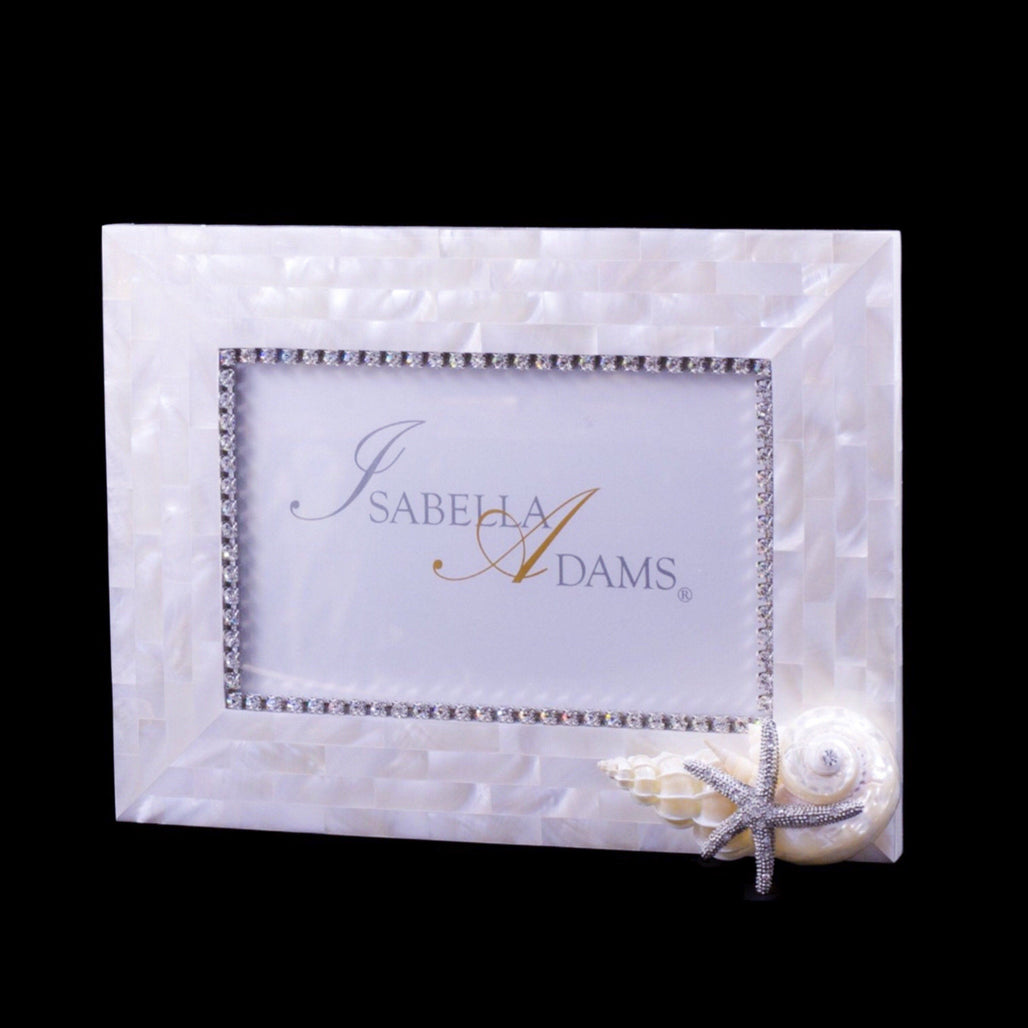 5 x 7 Mother of Pearl Starfish Picture Frame Featuring Swarovski © Crystals and Natural Seashells