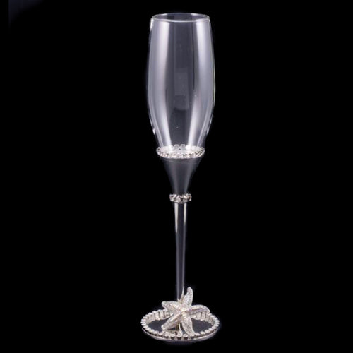 Wedding Champagne Glass with Starfish & White Opal Swarovski © Crystals