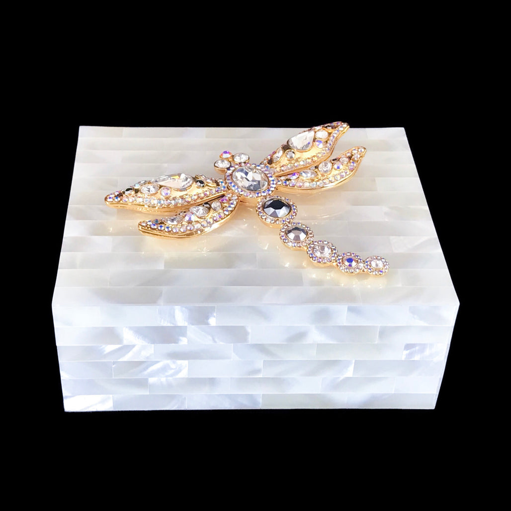 Mother of Pearl Keepsake Box Featuring Clear Swarovski © Crystallized Dragonfly