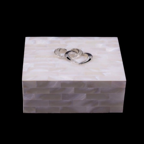 Mother of Pearl Keepsake Box Featuring Swarovski © Crystallized Locking Hearts