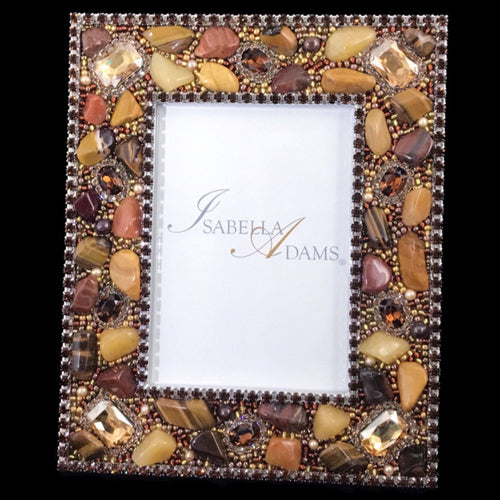 5 x 7 Picture Frame Featuring Amber Swarovski © Crystals and Polished Gemstones