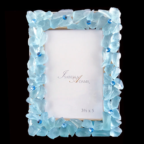 3.5 x 5 Turquoise Sea Glass Picture Frame Featuring Swarovski © Crystals