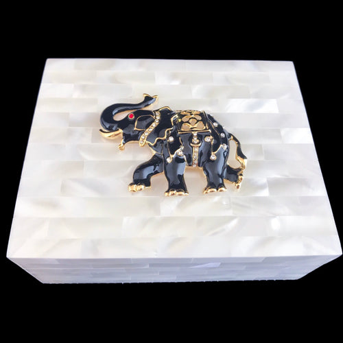 Mother of Pearl Black & Gold Elephant Keepsake Box Featuring Swarovski © Crystals