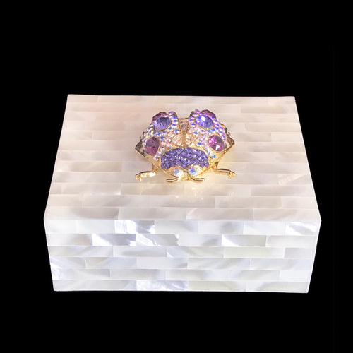 Mother of Pearl Keepsake Box Featuring Swarovski © Crystallized Lady Bug