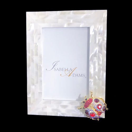 4 x 6 Mother of Pearl Siam Mix Lady Bug Picture Frame Featuring Swarovski © Crystals