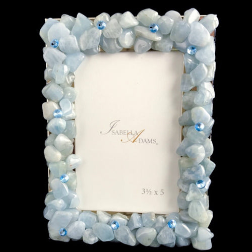 3 1/2 x 5 Turquoise Polished Gemstone Picture Frame Featuring Swarovski © Crystals