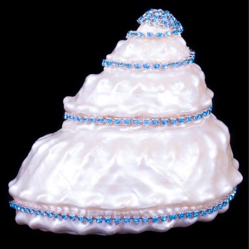 Astrea Undosa Seashell Collectible with Aquamarine Swarovski © Crystals