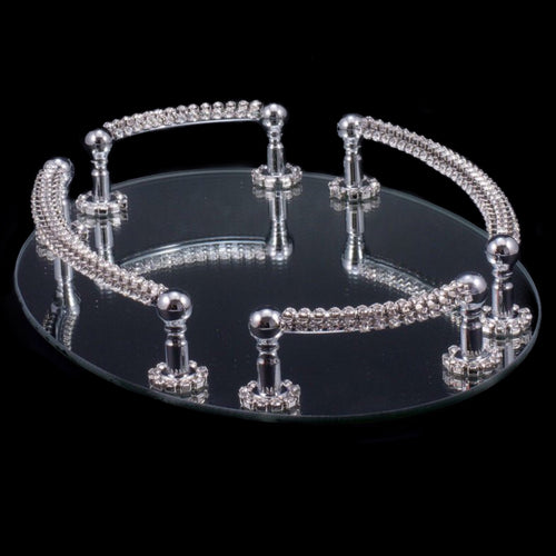 Oval Mirrored Vanity Tray Featuring Swarovski © Crystals
