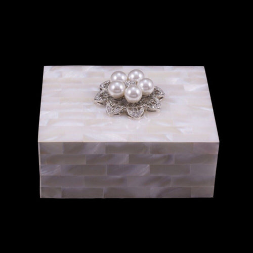 Mother of Pearl Keepsake Box Featuring Swarovski © Crystals and 5-Pearl Silver Setting