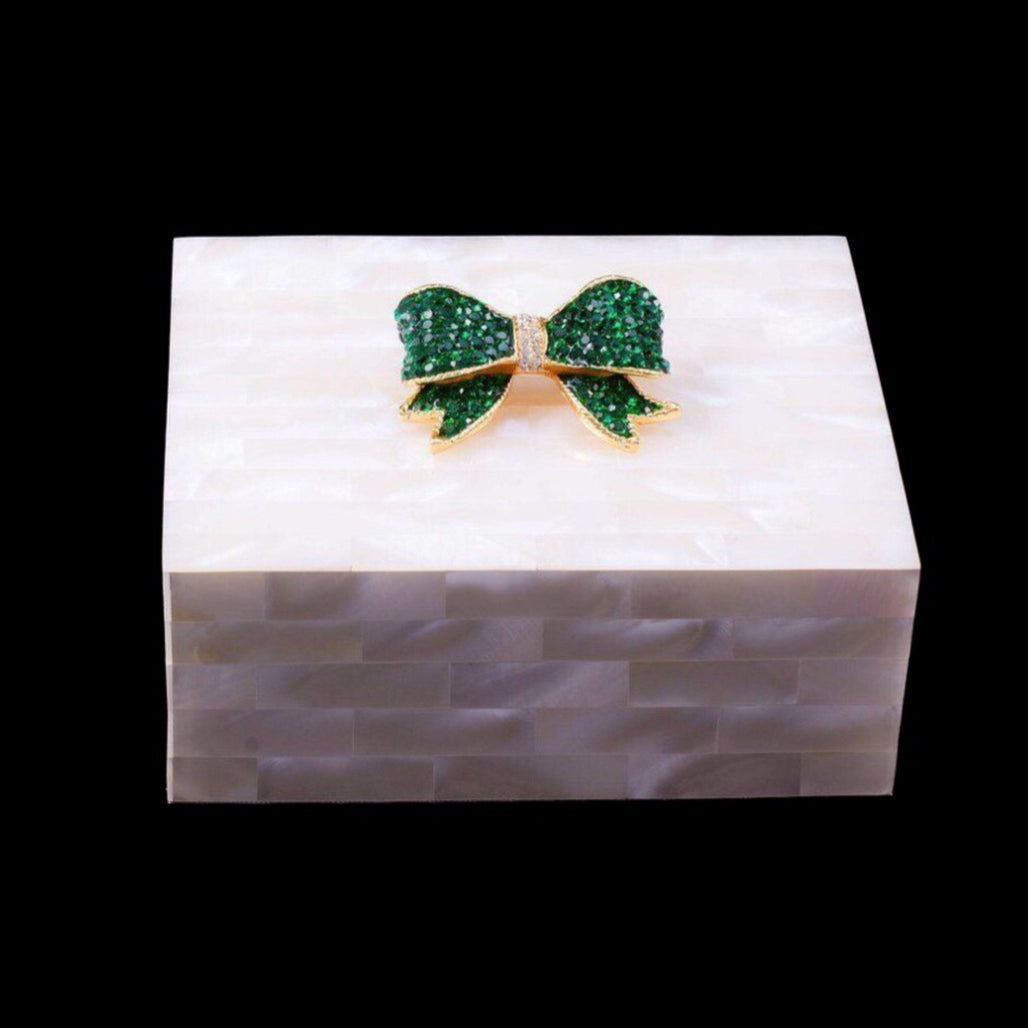 Mother of Pearl Green Bow Keepsake Box Featuring Emerald Swarovski © Crystal