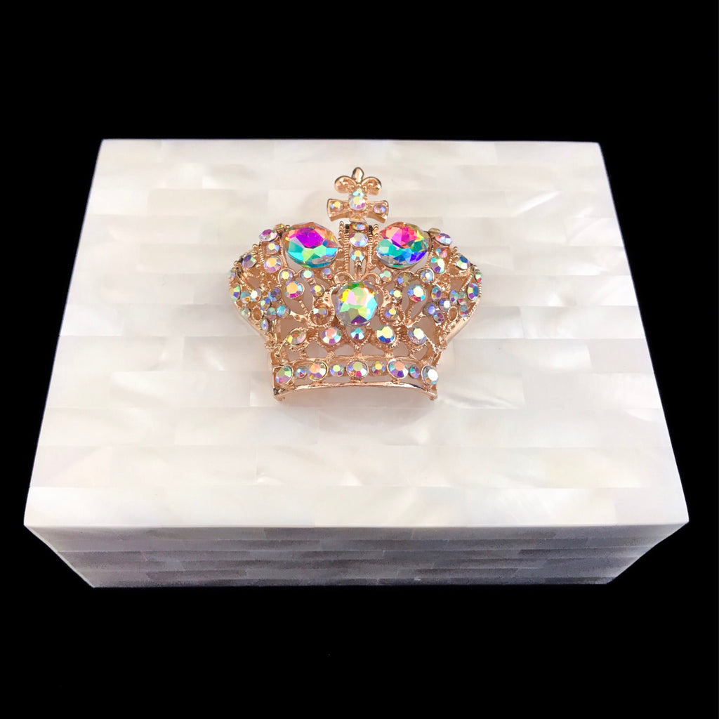 Mother of Pearl Deluxe Gold Crown Keepsake Box Featuring Swarovski © Crystals