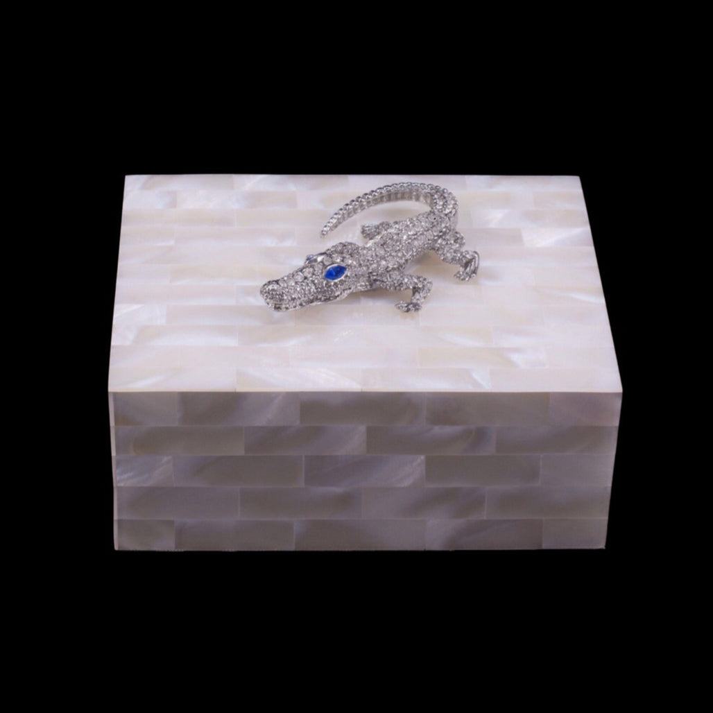 Mother of Pearl Crocodile Keepsake Box Featuring Clear & Sapphire Swarovski © Crystal