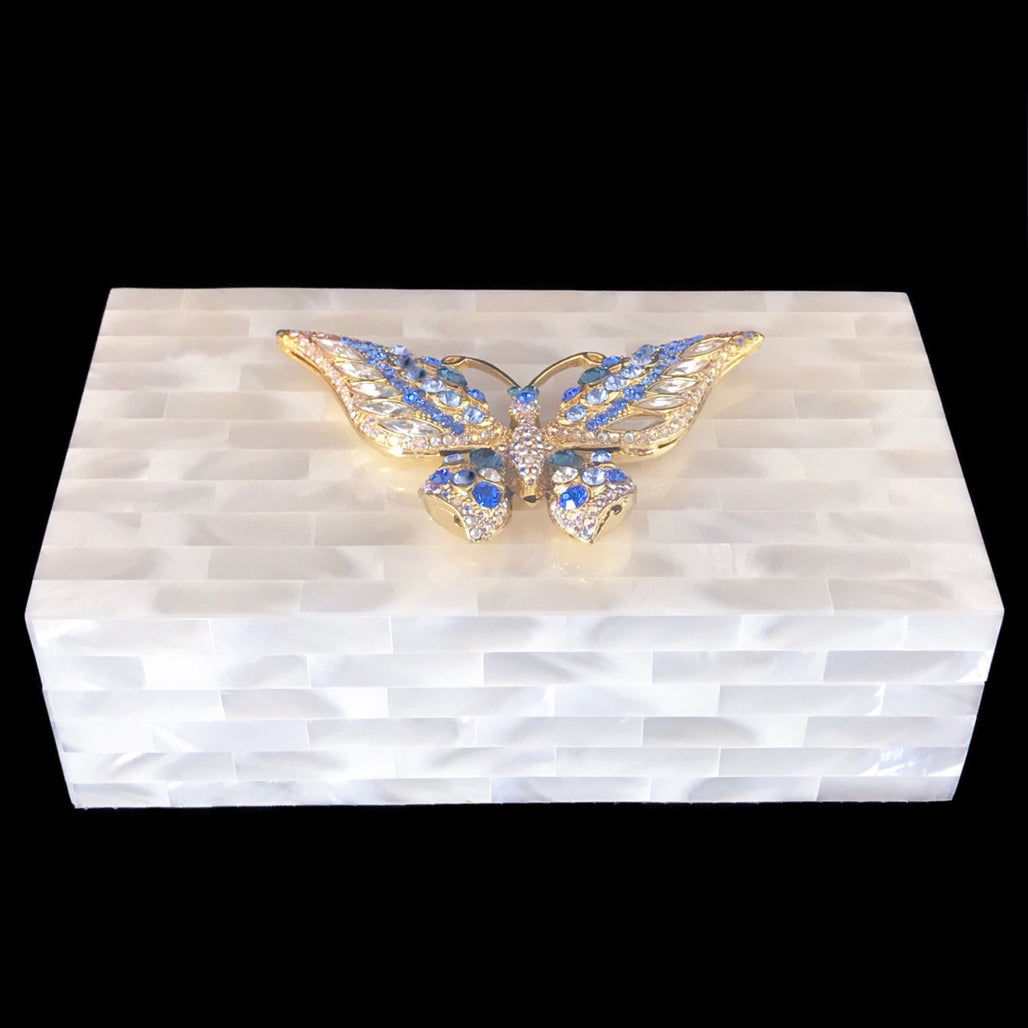 Mother of Pearl Butterfly Jewelry Box Featuring Swarovski © Crystal