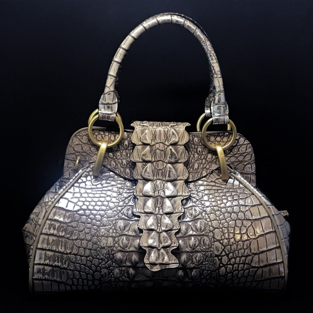Croco Embossed Leather Satchel Bag | Metallic Bronze