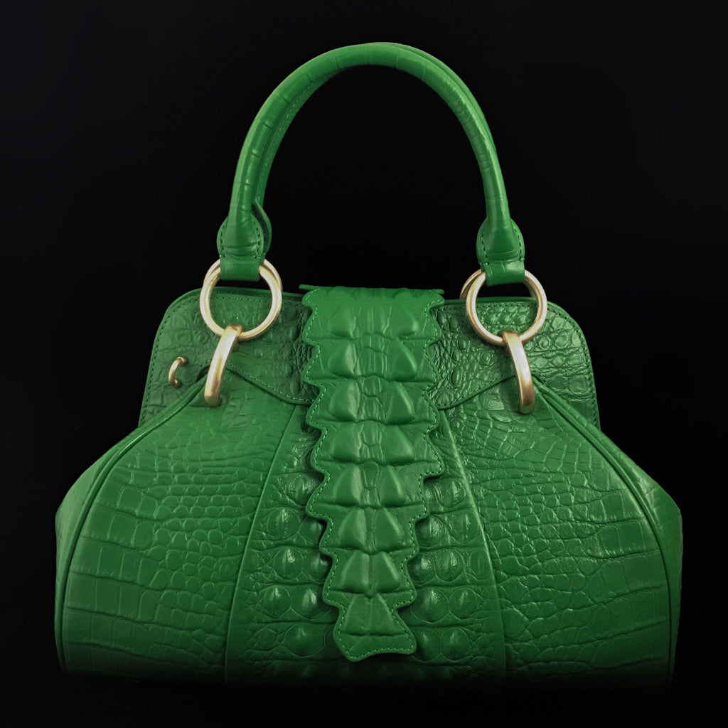Croco Embossed Leather Satchel Bag | Dark Green
