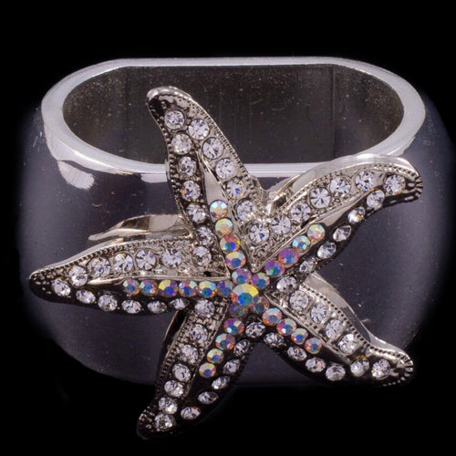 Small Starfish Napkin Ring Featuring Swarovski ® Crystal | Set of 4
