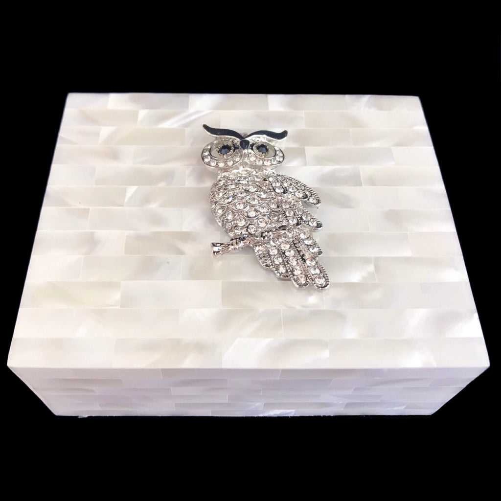 Mother of Pearl Silver Owl Keepsake Box Featuring Swarovski © Crystals