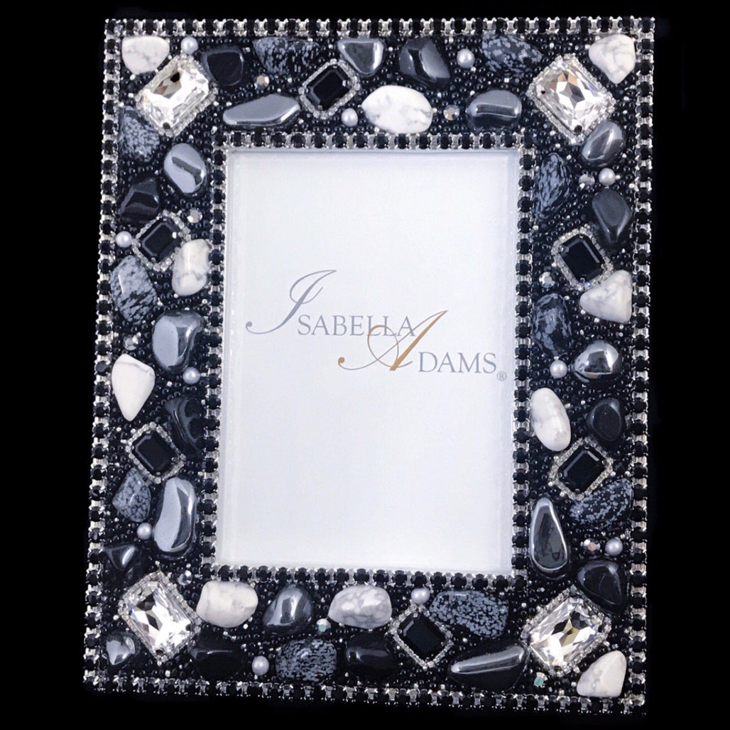 5 x 7 Picture Frame Featuring Jet Swarovski © Crystals and Polished Gemstones