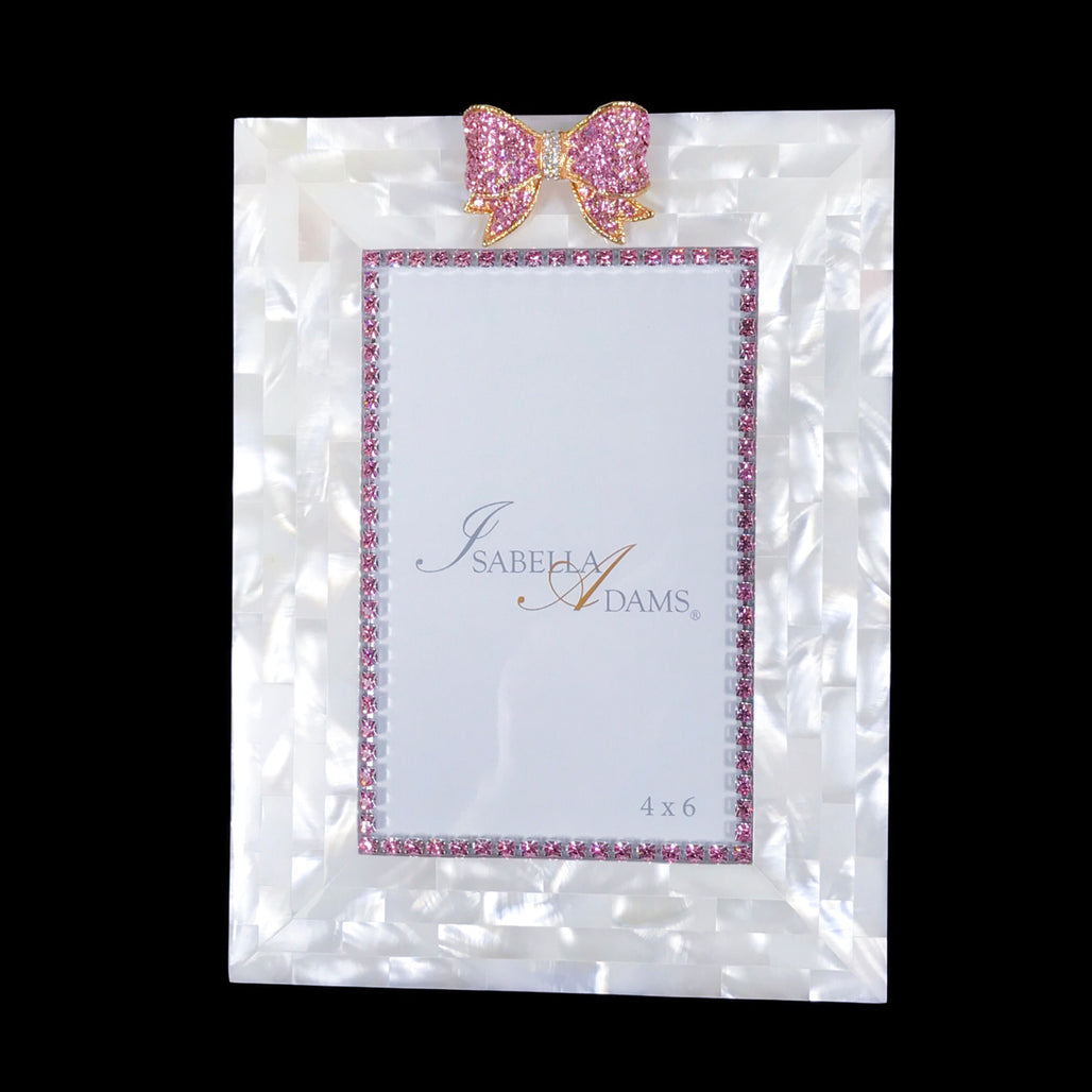4 x 6 Mother of Pearl Pink Crystal Bow Picture Frame Featuring Swarovski © Crystals
