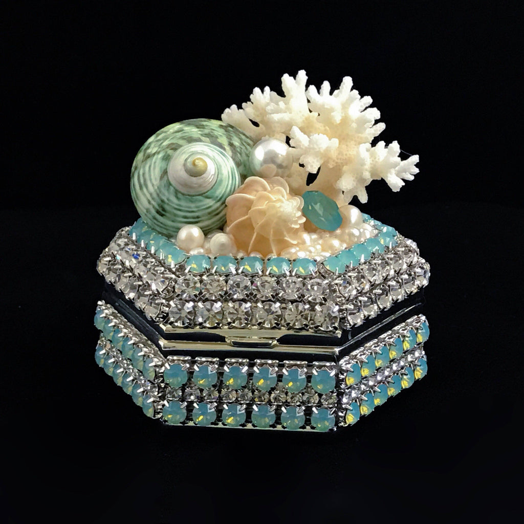 Hexagon Box Featuring Pacific Opal Swarovski © Crystals & Seashells