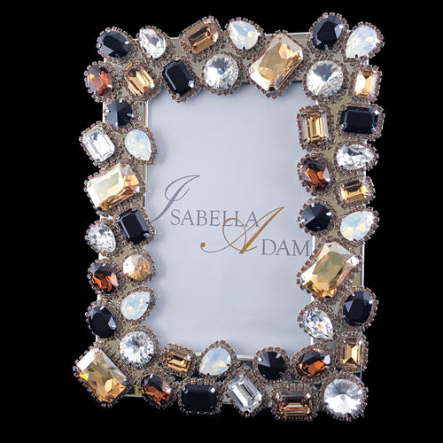 4 x 6 Topaz and Clear Mix Picture Frame Featuring Swarovski © Crystals