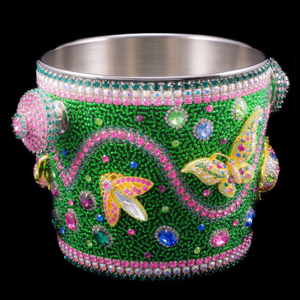 Spring Garden Champagne Ice Bucket Featuring Swarovski Crystal Butterfly, Lady Bug, Dragonfly & Flowers