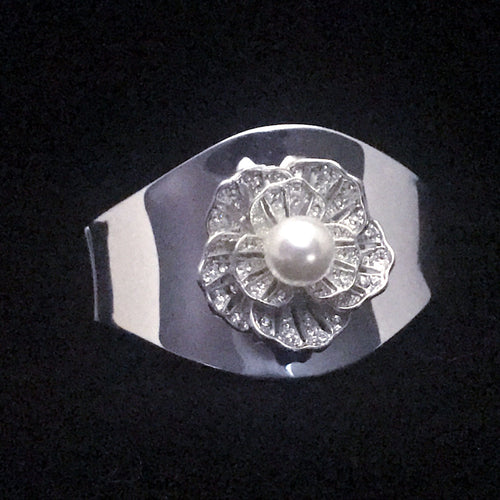 Silver Flower Cuff Bracelet with Single Pearl and Featuring Swarovski © Crystals