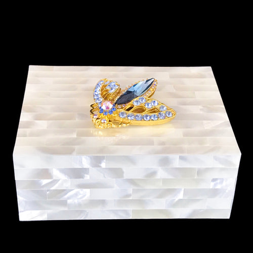Mother of Pearl Keepsake Box Featuring Swarovski © Crystallized Moth