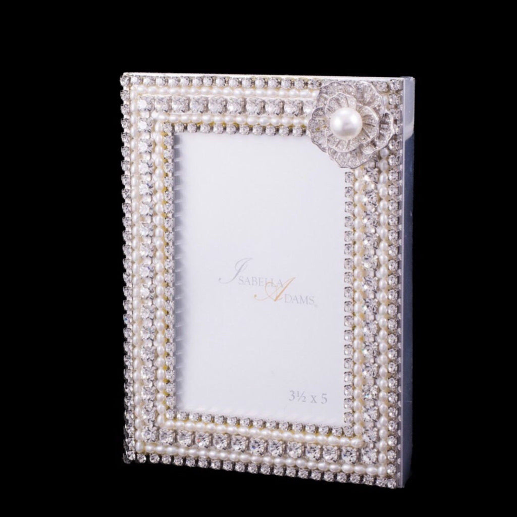 3.5 x 5 Single Pearl Picture Frame Featuring Swarovski © Crystals